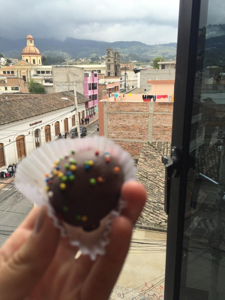 "A blurry ""trufa"" overlooking tiny Otavalo, Ecuador"