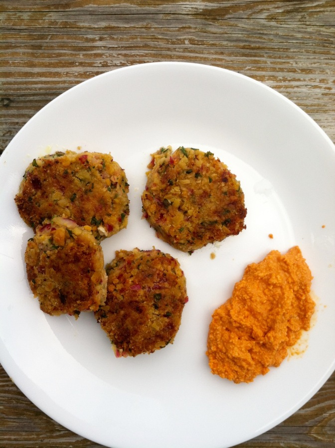 Fried Falafel Cakes with Hot Pepper Dip